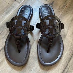 Tory Burch chocolate brown embossed Miller sandals
